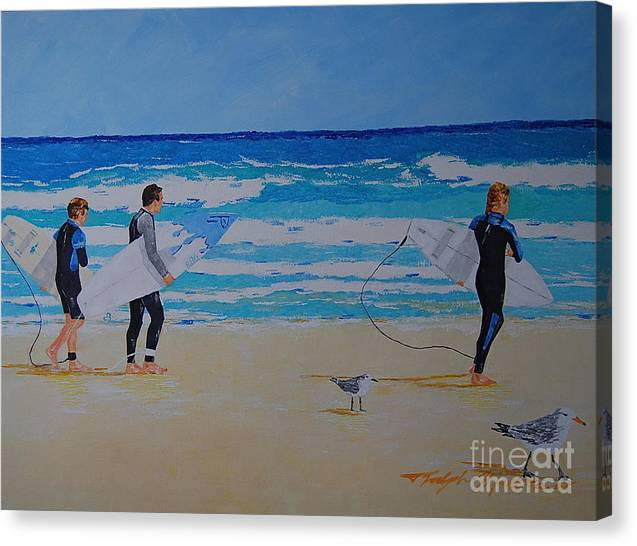Beach Scene Canvas Print featuring the painting Beach Walkers by Art Mantia