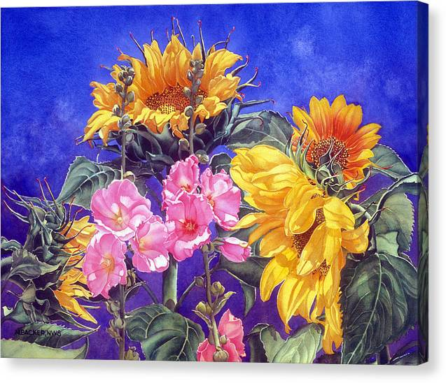 Floral Canvas Print featuring the print Sunseekers by Mary Backer