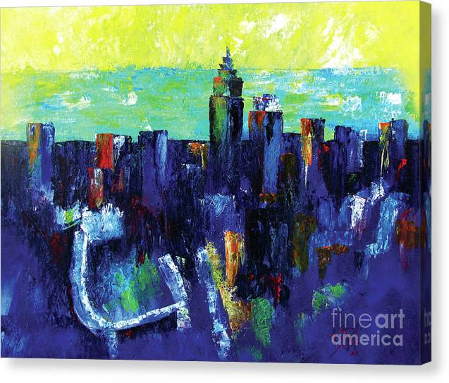 Cleveland Ohio Canvas Print featuring the painting Urban Revisited by JoAnn DePolo