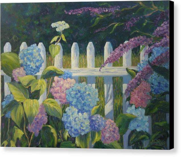 Floral Canvas Print featuring the painting Hydrangeas Fence by Lee Riggs