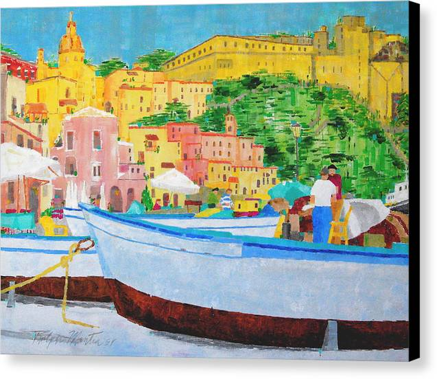 Boats Canvas Print featuring the painting Procida by Art Mantia