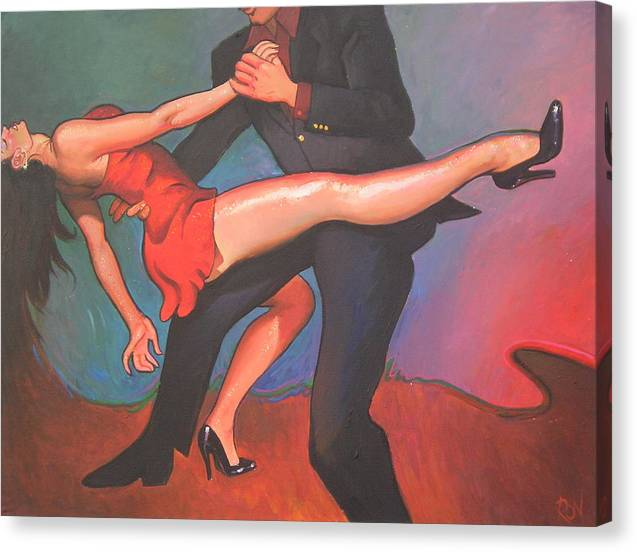 Contemporary Images Dancers Canvas Print featuring the painting Dip by Ron W McDowell