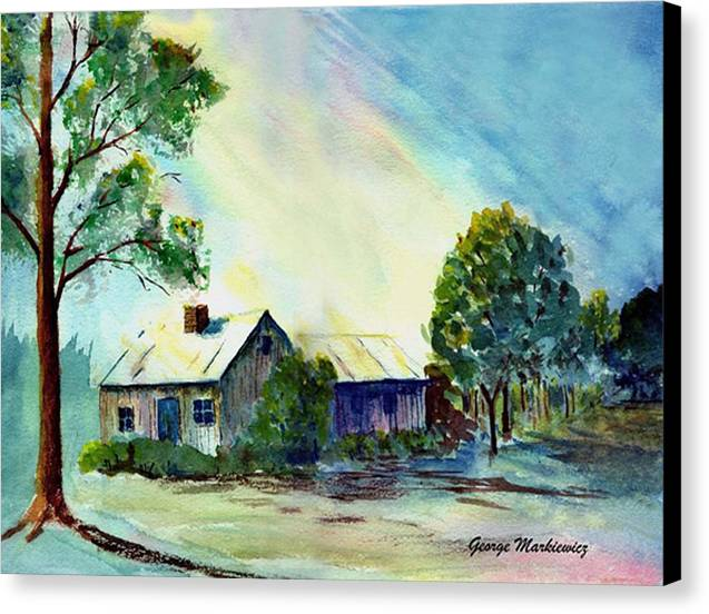Cabin Landscape Canvas Print featuring the print Cabin In The Evening by George Markiewicz