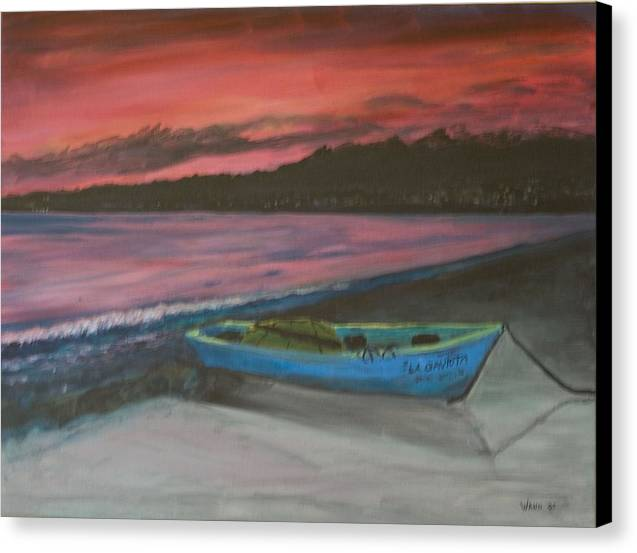 Seascape Canvas Print featuring the painting Sunset Reflections by Anita Wann