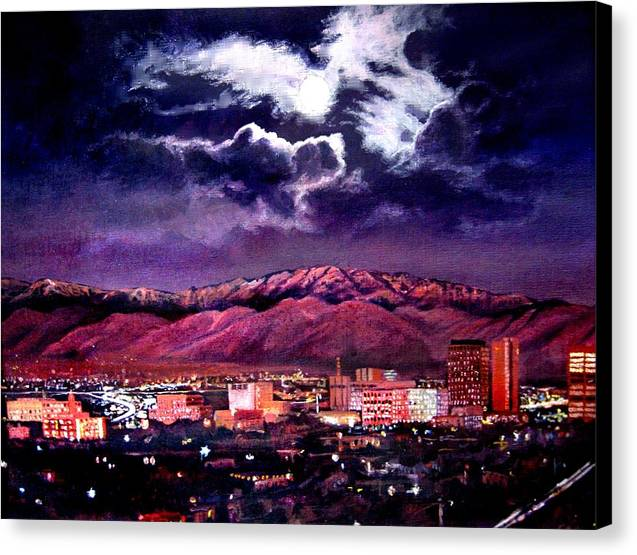 Painter Albuquerque Home Commercial Painting: Albuquerque New Mexico At Night 112413 Canvas Print