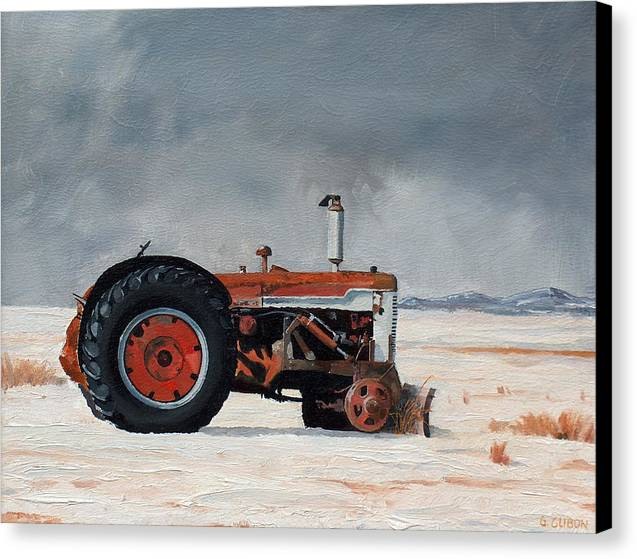 Tractor Canvas Print featuring the painting Rusted Sentinel by Greg Clibon