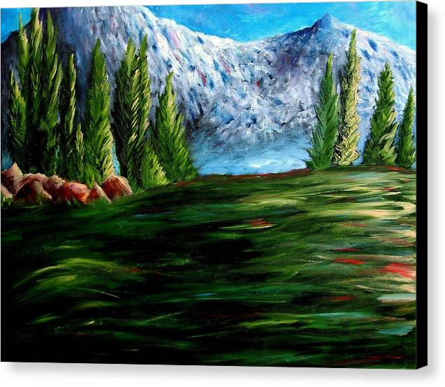 Landscape Canvas Print featuring the painting Western Mountains by Brandon Sharp