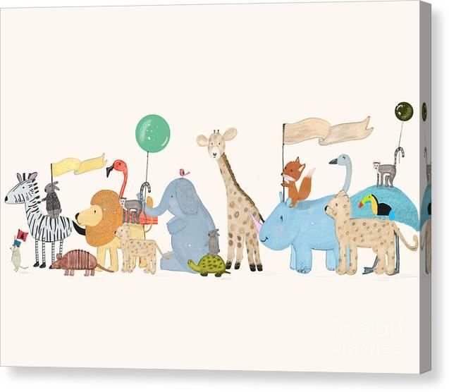 Little Safari Parade Canvas Print