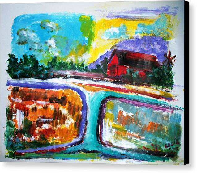 Abstract. Lamdscape.barns Canvas Print featuring the print Country Mile by Carl Lucia