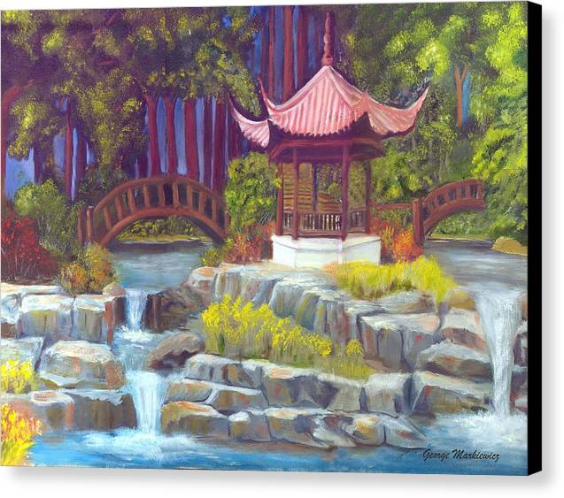 Gazebo Landscape Canvas Print featuring the print Peppermint Gazebp by George Markiewicz