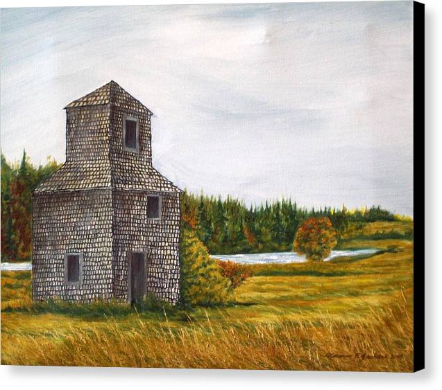 Barn Canvas Print featuring the painting The Drying Barn by Norman F Jackson