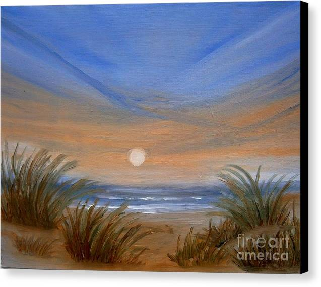 Seascape Canvas Print featuring the painting Sun And Sand by Holly Martinson