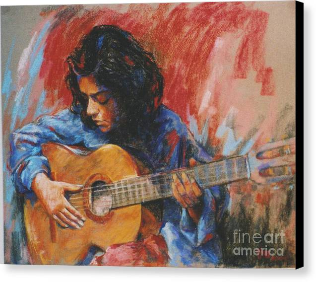 Figurative Canvas Print featuring the painting Mi Gitana by Tina Siddiqui