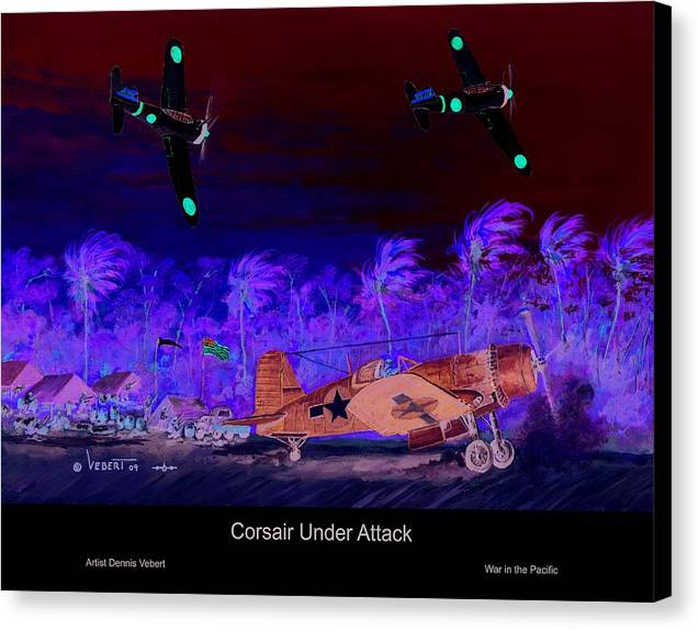Aviation Art Canvas Print featuring the painting Corsair At The Ready by Dennis Vebert