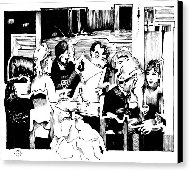 Paris Cafe Scene Canvas Print featuring the drawing Gervex Paris Cafe by Gary Peterson