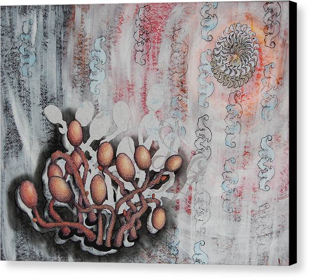 Parasite Canvas Print featuring the mixed media Patterned Parasites by Lauren Macko