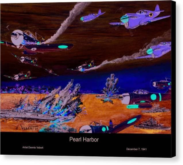 Fighter Planes Canvas Print featuring the painting Pearl by Dennis Vebert