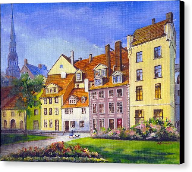 City Scape Canvas Print featuring the painting Riga Latvia by Robynne Hardison