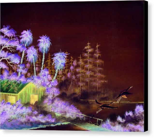 Landscape Canvas Print featuring the painting Shack In A Swamp by Dennis Vebert