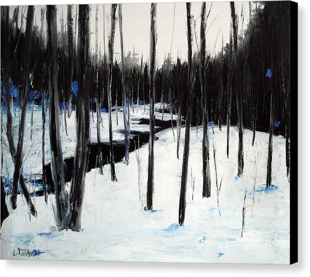 Maine Canvas Print featuring the painting Winter Day by Laura Tasheiko
