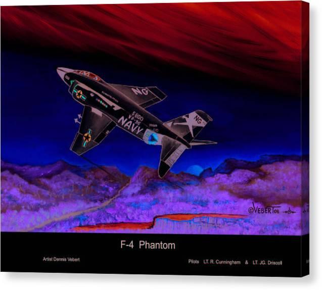 War Plane Canvas Print featuring the painting F-4 Phantom by Dennis Vebert