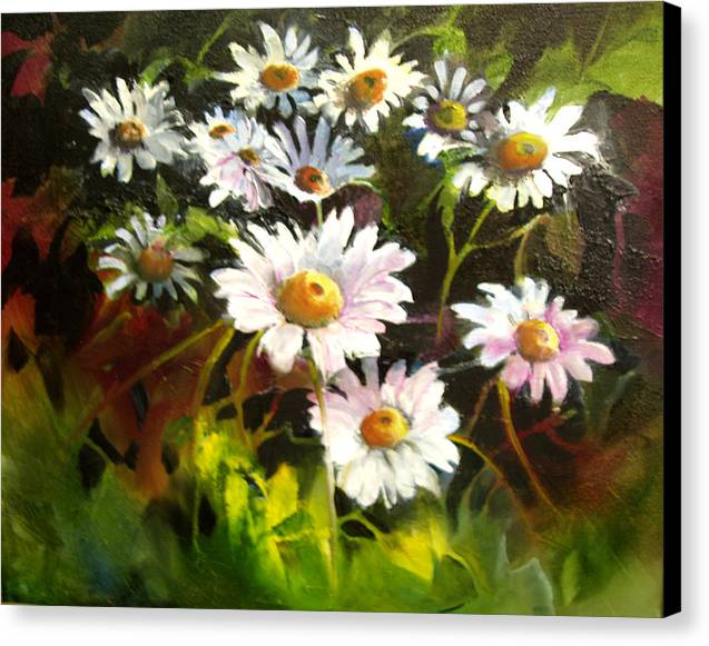 Flowers Canvas Print featuring the painting Daisies by Robert Carver