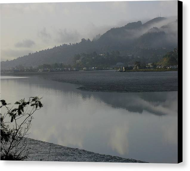 Landscape.west Sausalito.reflection.fog. Canvas Print featuring the photograph Morning Fog by Vari Buendia
