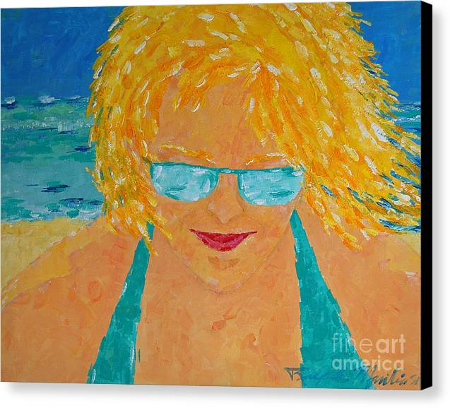 Beach Art Canvas Print featuring the painting Warm Summer Breeze by Art Mantia