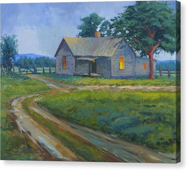 Landscape Canvas Print featuring the painting Cold Wet Day by Bob Adams