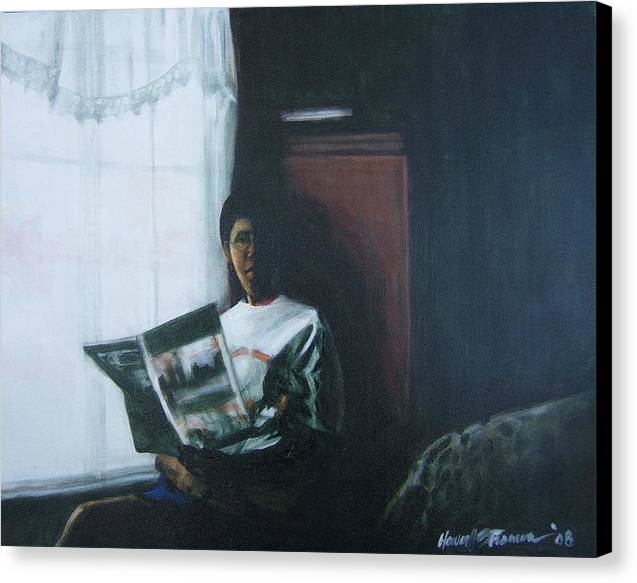 Portrait Canvas Print featuring the painting The Guest Room by Howard Stroman