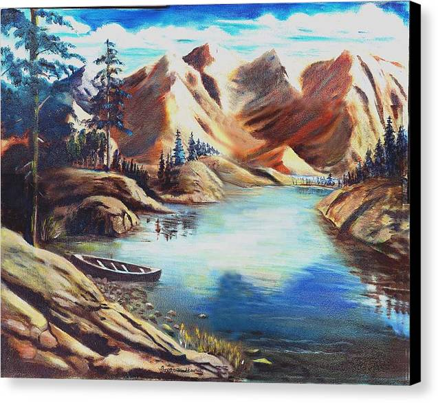 Rugged Mountains Canvas Print featuring the print Nature by George Markiewicz