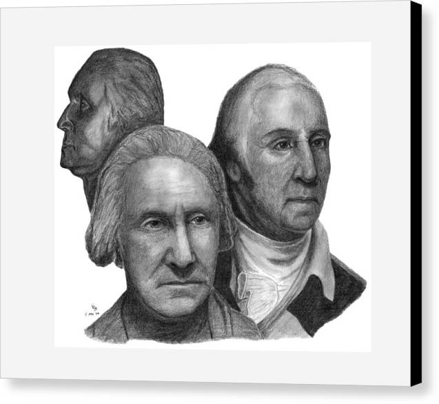 Washington Canvas Print featuring the drawing President George Washington by Charles Vogan
