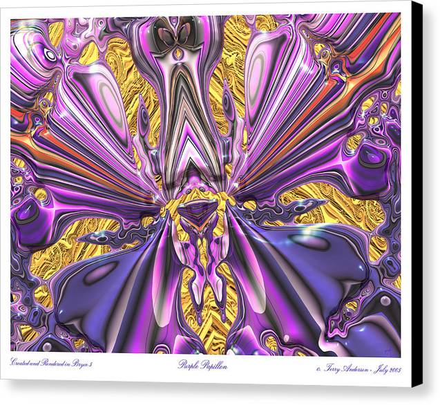 Abstract Art; Large Art Print; Digital Art; 3-d Rendering Canvas Print featuring the digital art Purple Papillon by Terry Anderson