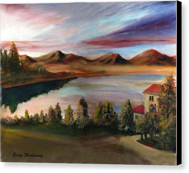 Lake Landscape Canvas Print featuring the print Sunrise Lake by George Markiewicz