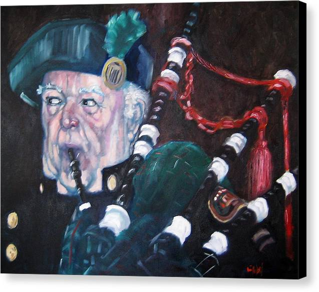 Scottish Irish Ireland Scotland Music Portrtait Canvas Print featuring the painting The Piper by Kevin McKrell
