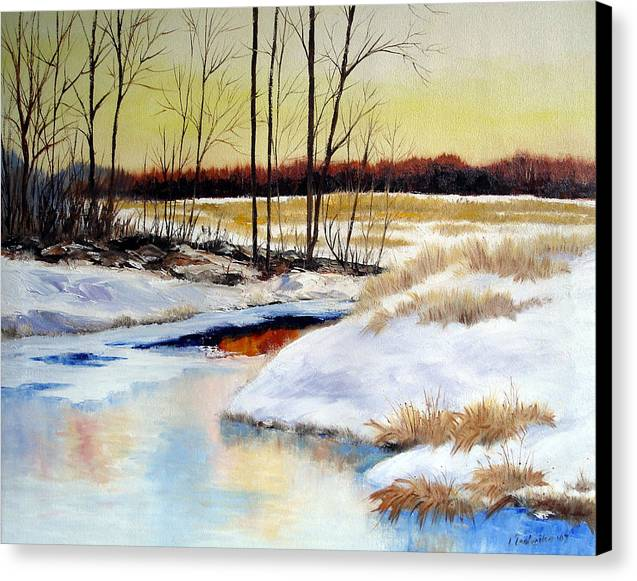Maine Nature Paintings Original Art Landscape Canvas Print featuring the painting Winter Stream 1107 by Laura Tasheiko
