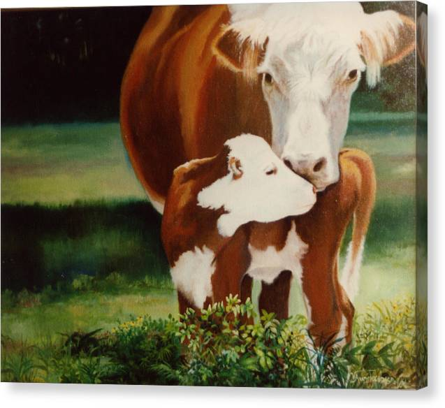 Calf Canvas Print featuring the painting First Kiss by Valerie Aune