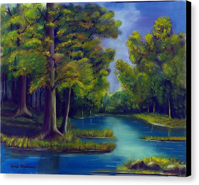 Water Landscape Canvas Print featuring the print Deep Woods by George Markiewicz