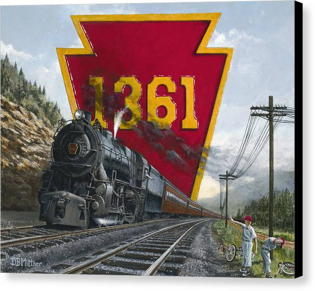 Trains Canvas Print featuring the painting Memories Relived by David Mittner