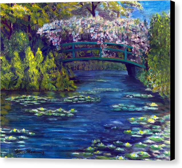 Bridge And Waterlillies Canvas Print featuring the print Bridge And Water Lillies by George Markiewicz