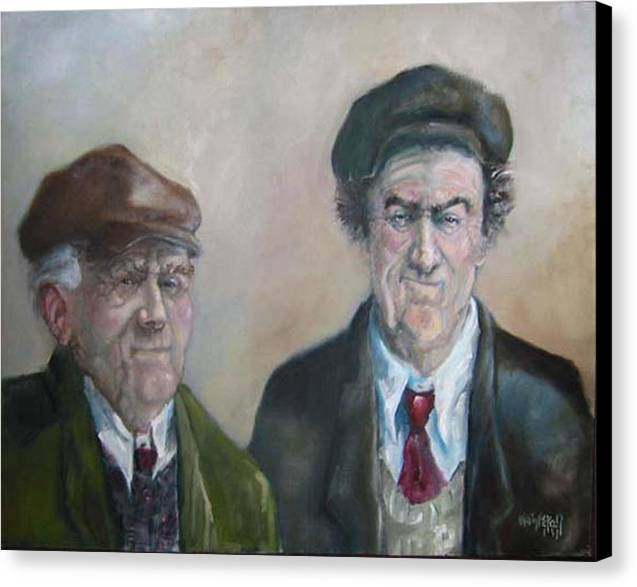 Portrait Figure Canvas Print featuring the painting Father And Son by Kevin McKrell