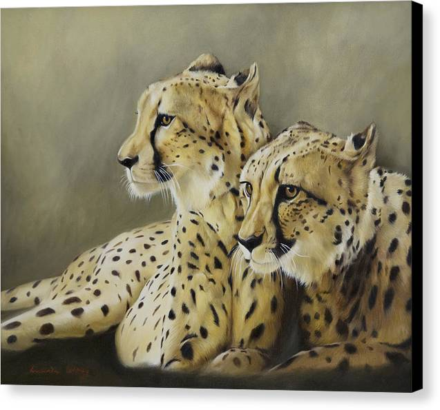 Cheetah Canvas Print featuring the painting Stranger In The Midst. by Lucinda Coldrey