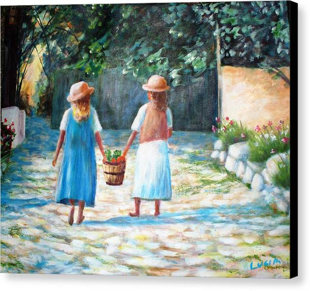 Garden. Girls.flowers. Fruit. Canvas Print featuring the print Sisters by Carl Lucia