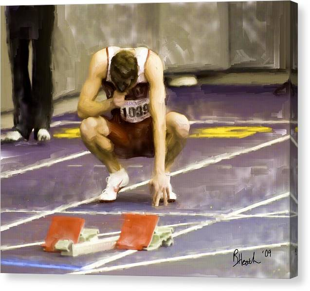 Track Runner Canvas Print featuring the painting God by Richard Heath