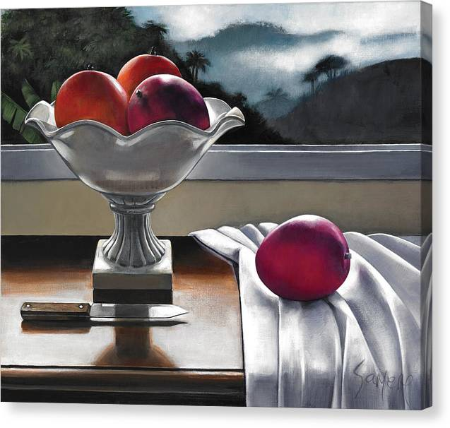 Jamaican Fruits Canvas Print featuring the painting Mangoscape by Samere Tansley