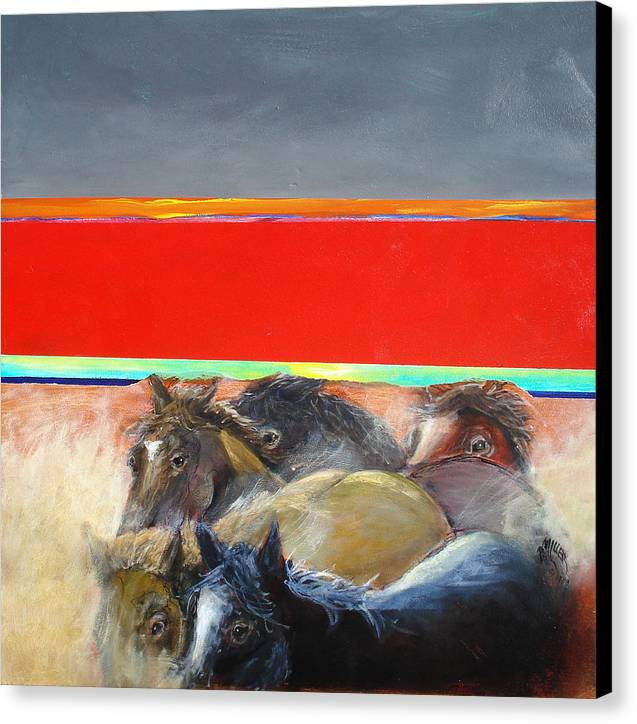 American Wild Horses Canvas Print featuring the painting American Wild Horses Herded To Slaughter by Paul Miller