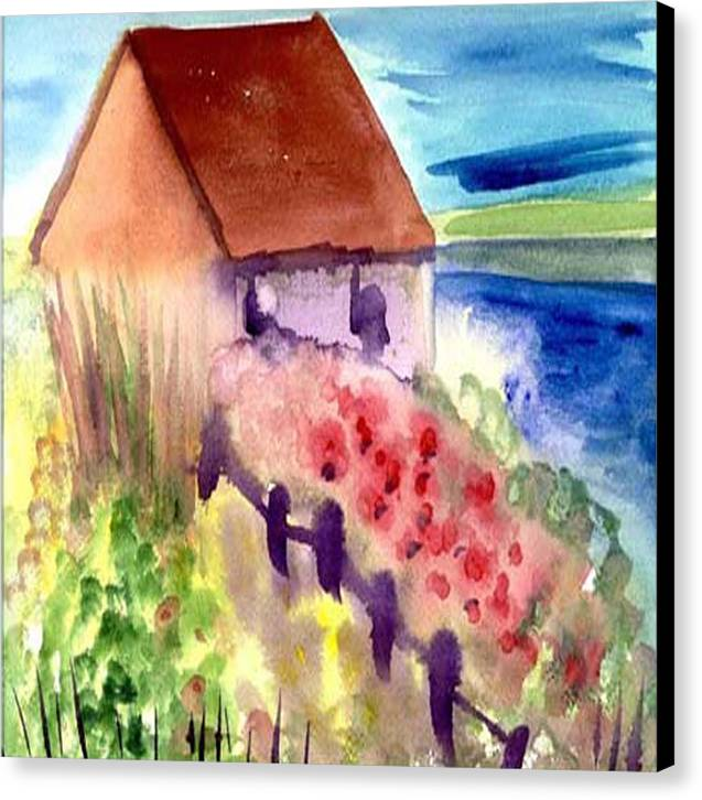 Beach Canvas Print featuring the painting Beach House by Janet Doggett