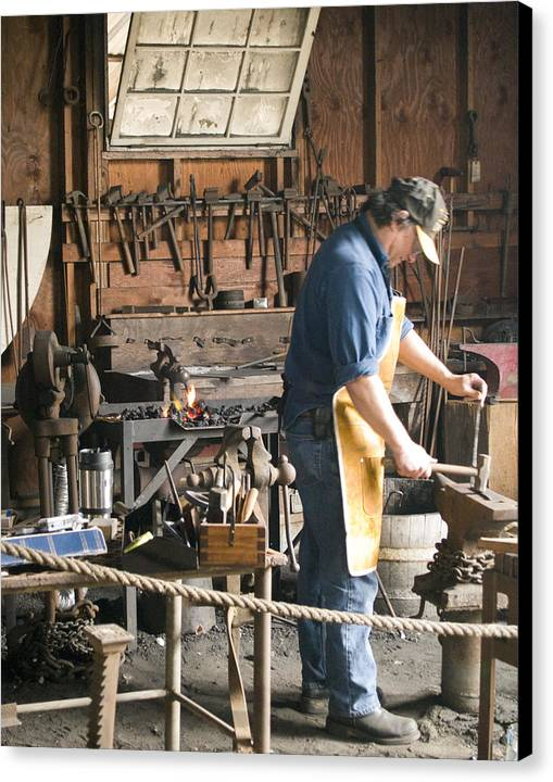 Decor Canvas Print featuring the photograph The Blacksmith by Ron Kizer