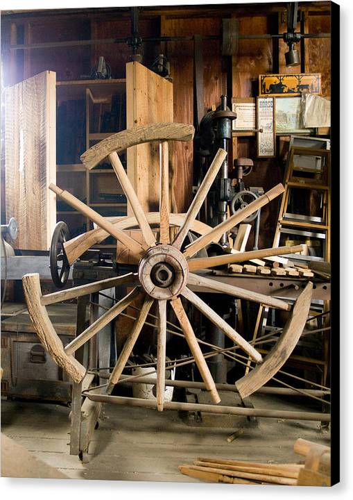 Decor Canvas Print featuring the photograph The Wheelwright's Shop by Ron Kizer