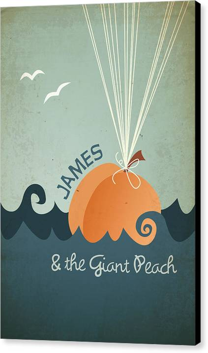 James Canvas Print featuring the digital art James And The Giant Peach by Megan Romo